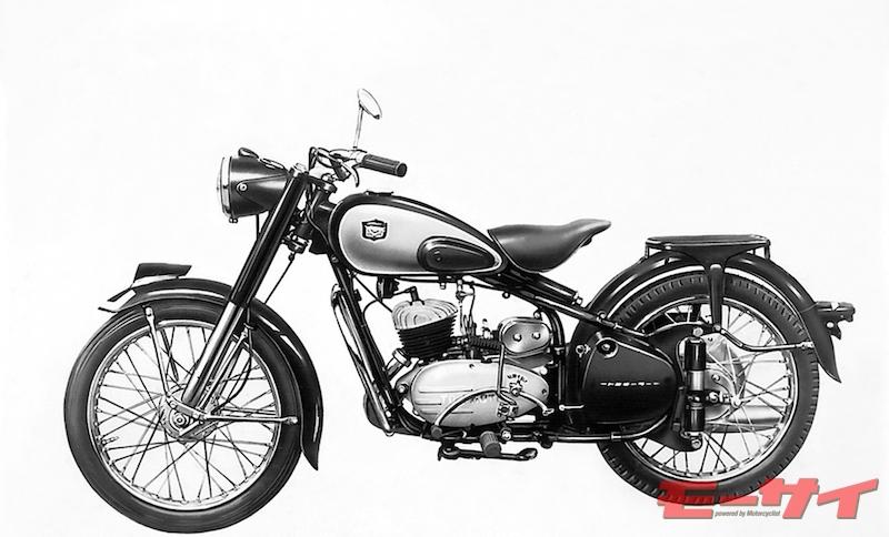 トヨモーターFES125(1956)。免許改正に合わせてリリースされた125ccモデル。シートはゴム張りだったものがレザーに変わった。