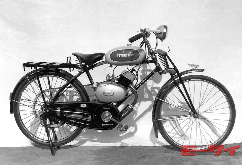 トヨモーターA9型(1958)。国産最後の90cc自転車補助エンジン。左グリップ2段階変速で、4馬力の性能を誇った。