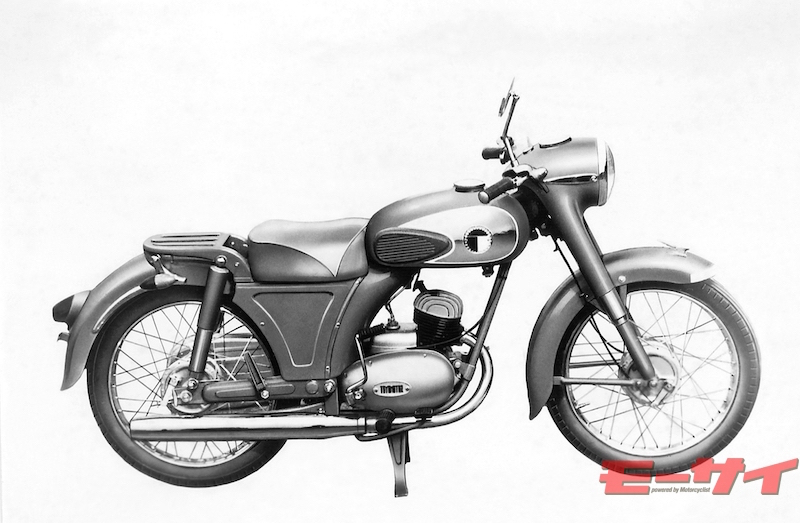 トヨモーターFH2型(1958)。フレームはプレス鋼板とパイプを組み合わせ、とても頑丈で、トライアンフ的なヘッドライトも注目を浴びた。そのほか150ccモデルも併売された。