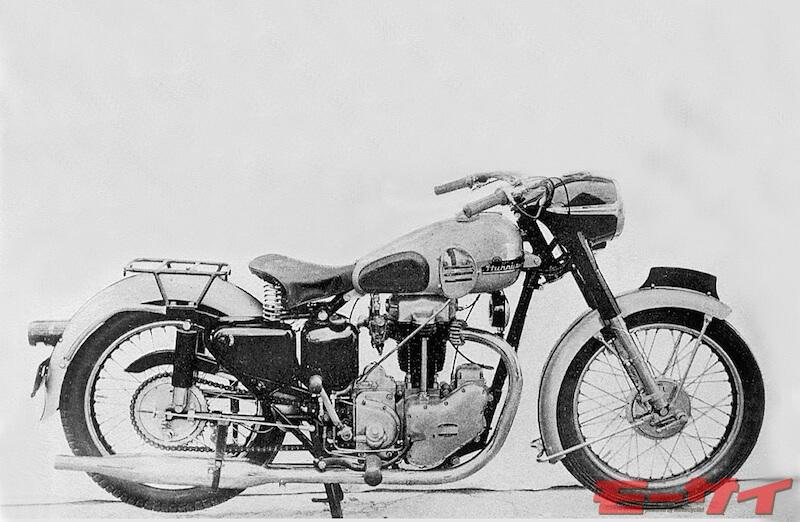 1953年ハリケーン350RB 大宮工場製のハリケーンは英車を参考に開発、数台が現存。OHV346cc14.5ps/4500rpm、100km/h、価格未発表。1955年発売のキングダイナT型250が翌年ハリケーン250となり、1957年発売のR型125ccはラビットエンジンをベースに開発、1959年まで販売された。