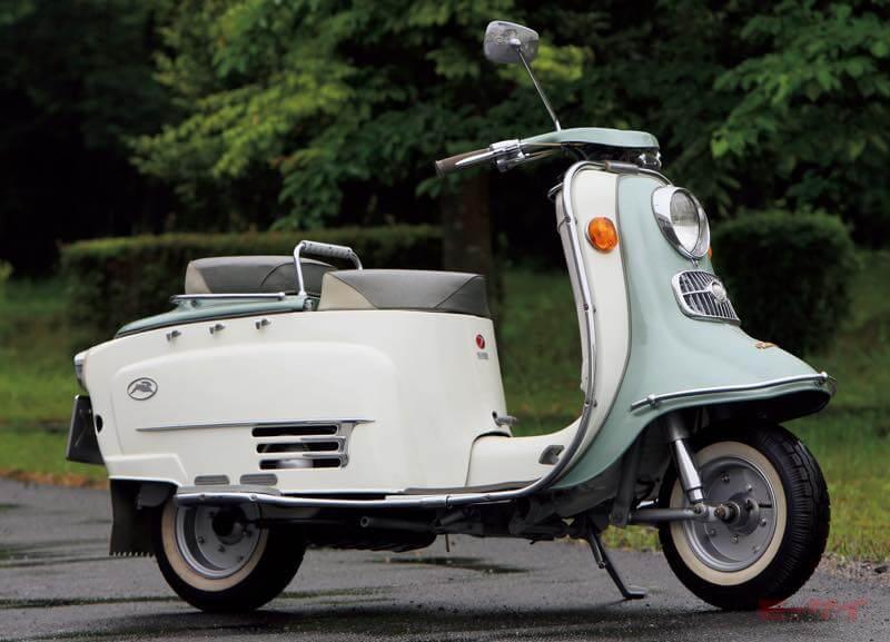 1959年ラビットS601。2サイクル200cc、最高出力11ps/5500rpm、最高速100km/h